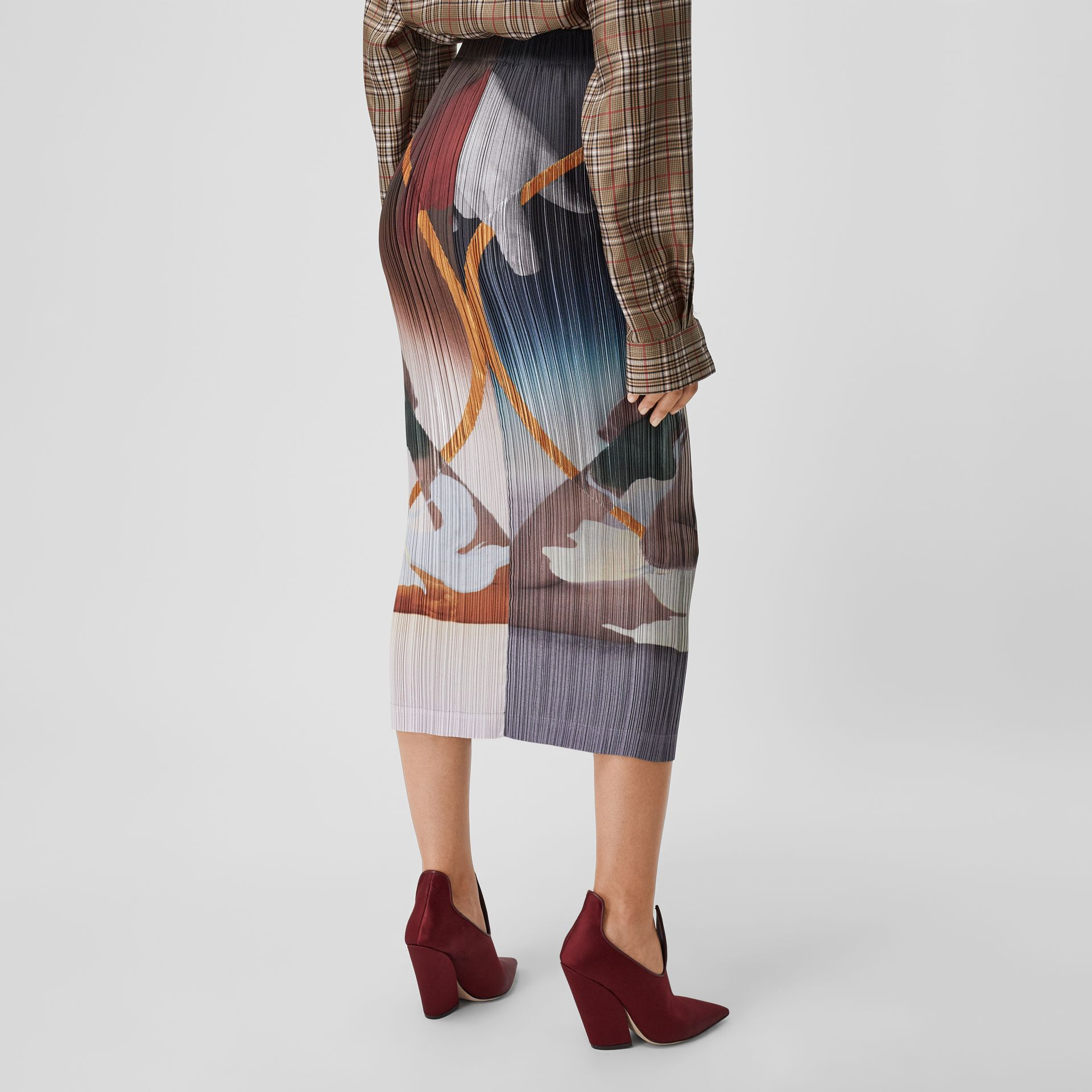Meditation Print Satin Plissé Skirt in Multicolour - Women | Burberry - gallery image 2