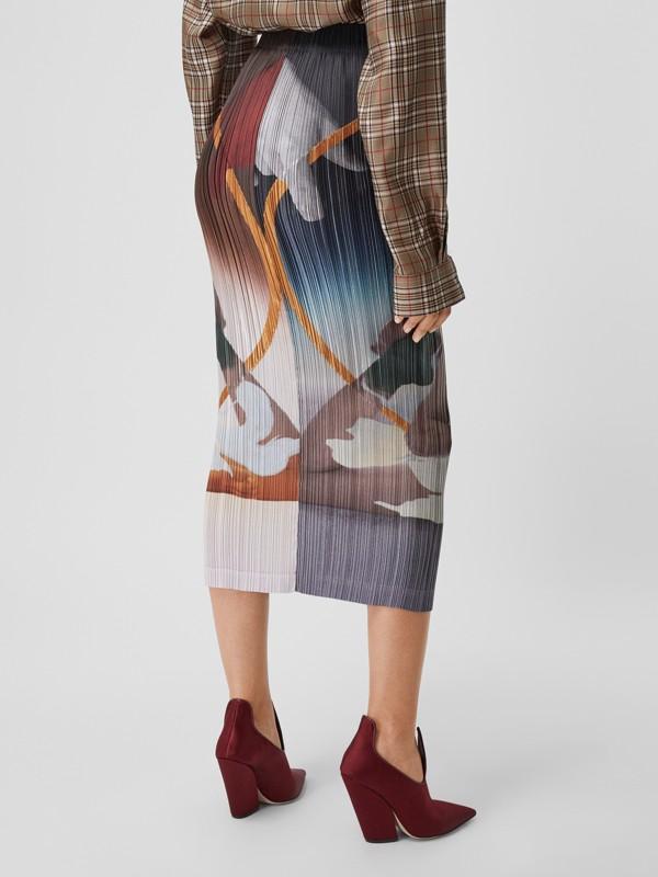 Saia plissé de cetim com estampa de meditação (Multicolorido) - Mulheres | Burberry - cell image 2