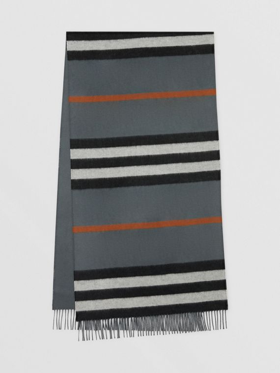 Icon Stripe Cashmere Jacquard Scarf in Mid Grey