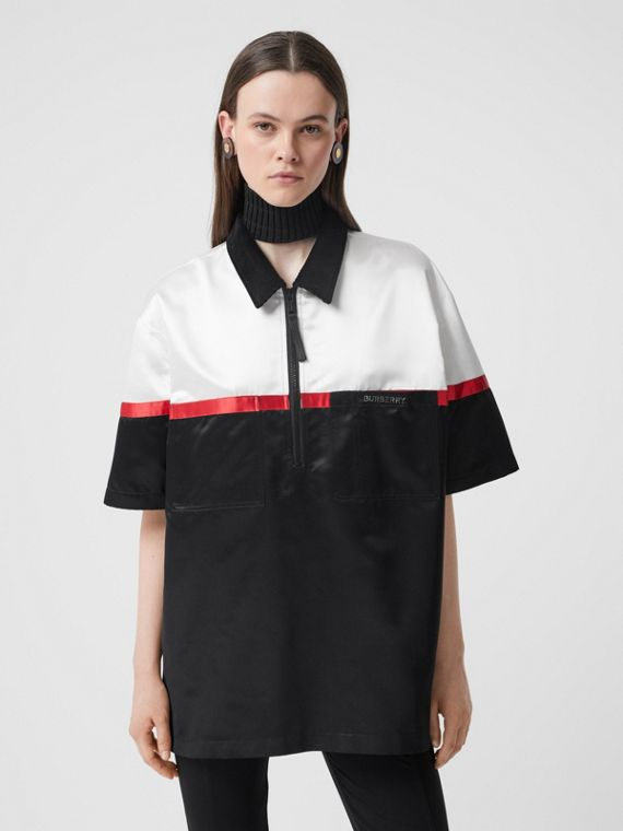 Colour Block Silk Satin Oversized Bowling Shirt in Optic White