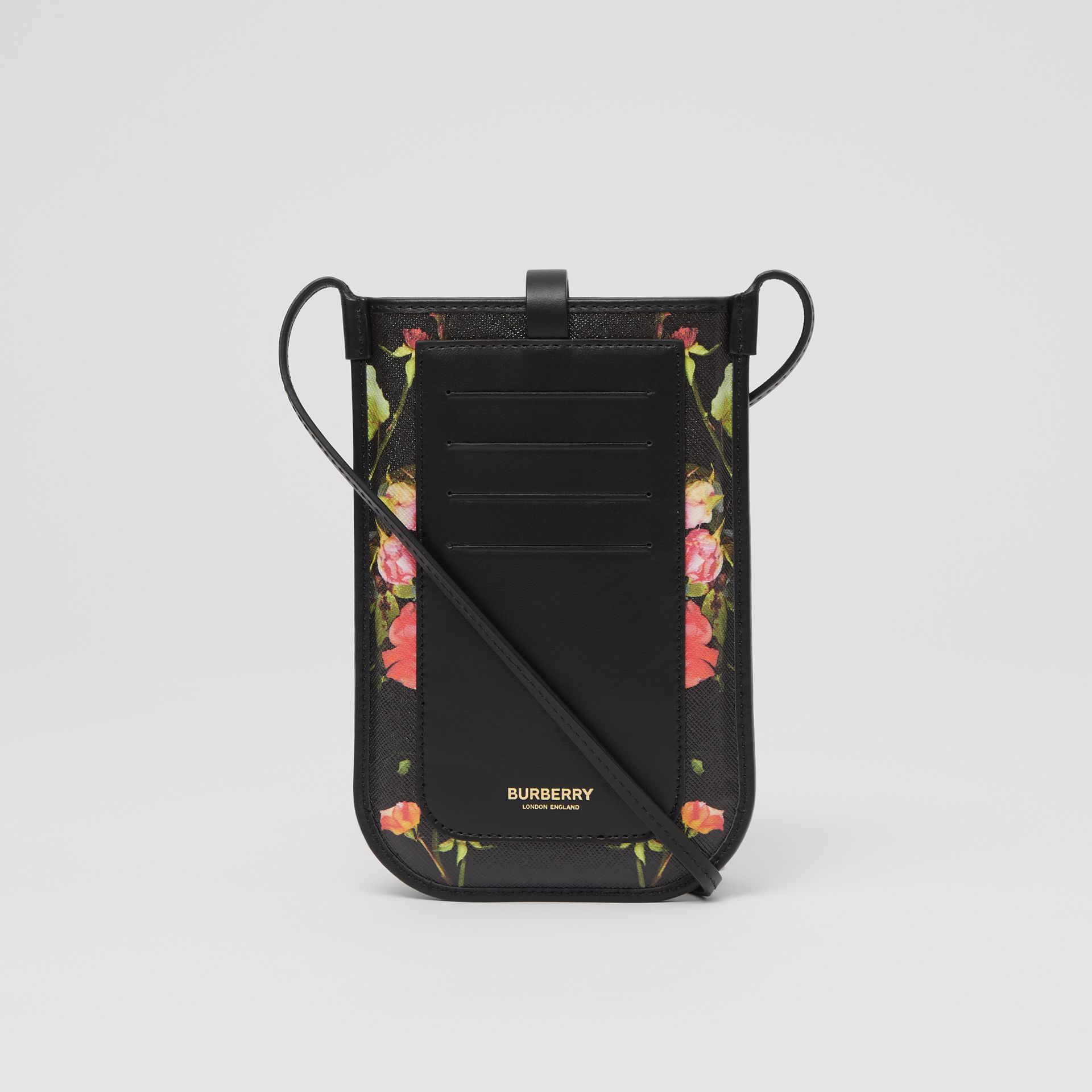 Rose Print E-canvas Phone Case with Strap in Black | Burberry - gallery image 7