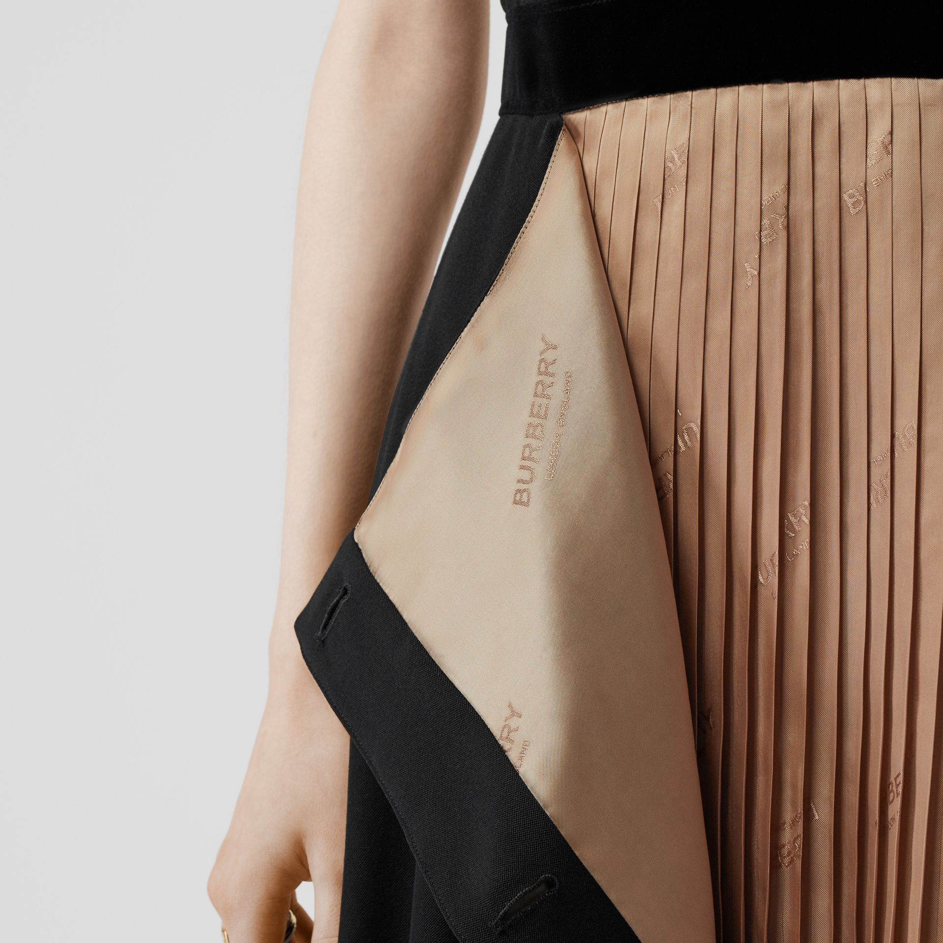 Panel Detail Silk and Wool Shift Dress in Black - Women | Burberry - gallery image 4