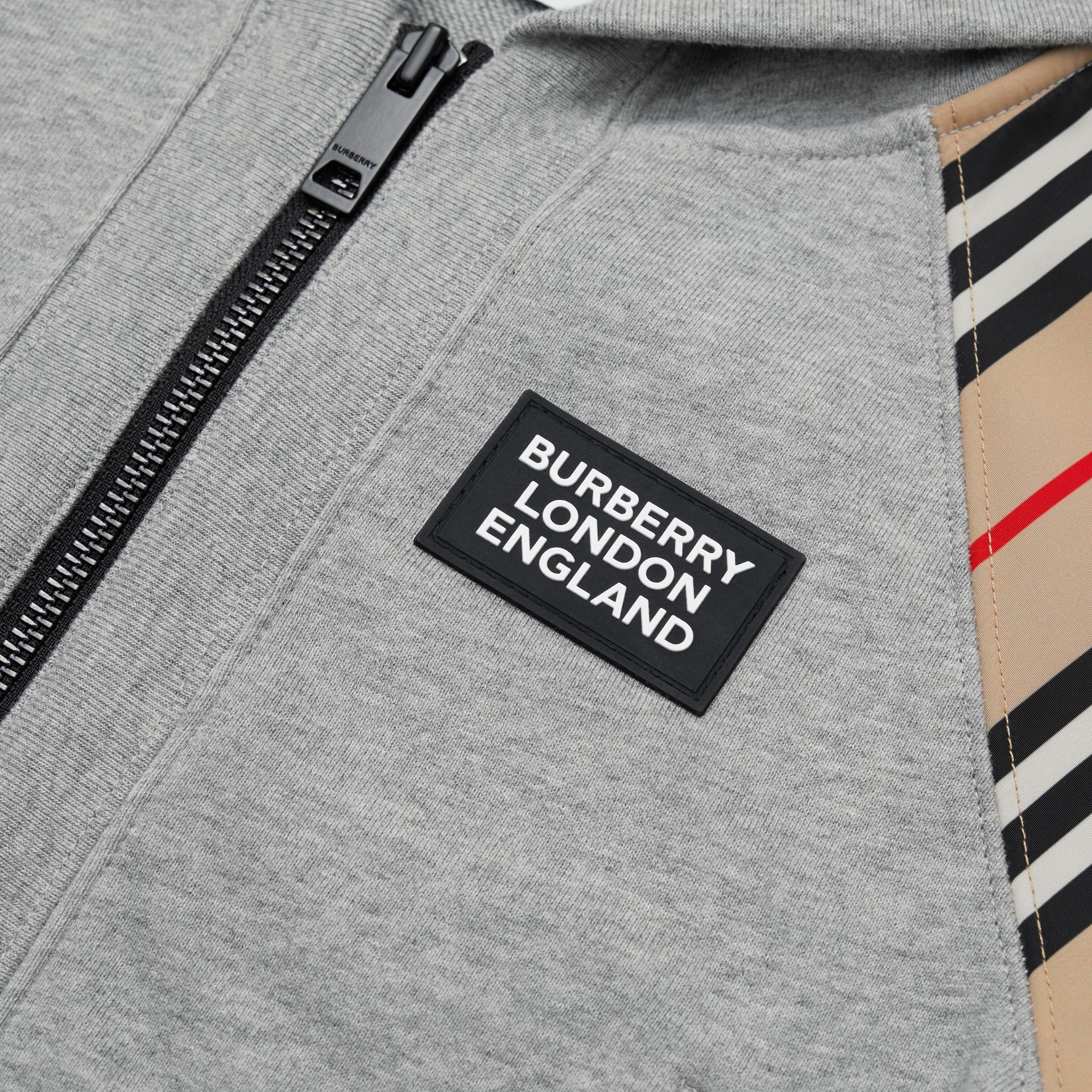 Icon Stripe Panel Cotton Hooded Top in Grey Melange | Burberry United Kingdom - gallery image 1