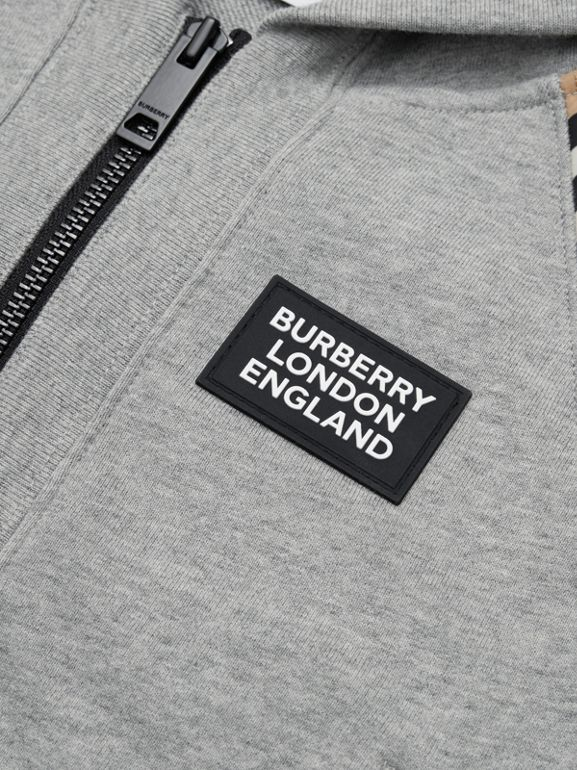 Icon Stripe Panel Cotton Hooded Top in Grey Melange | Burberry United Kingdom - cell image 1