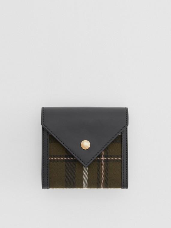 Tartan Wool and Leather Folding Wallet in Dark Green