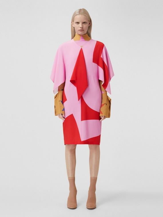 Cape Sleeve Geometric Print Silk Crepe de Chine Dress in Primrose Pink