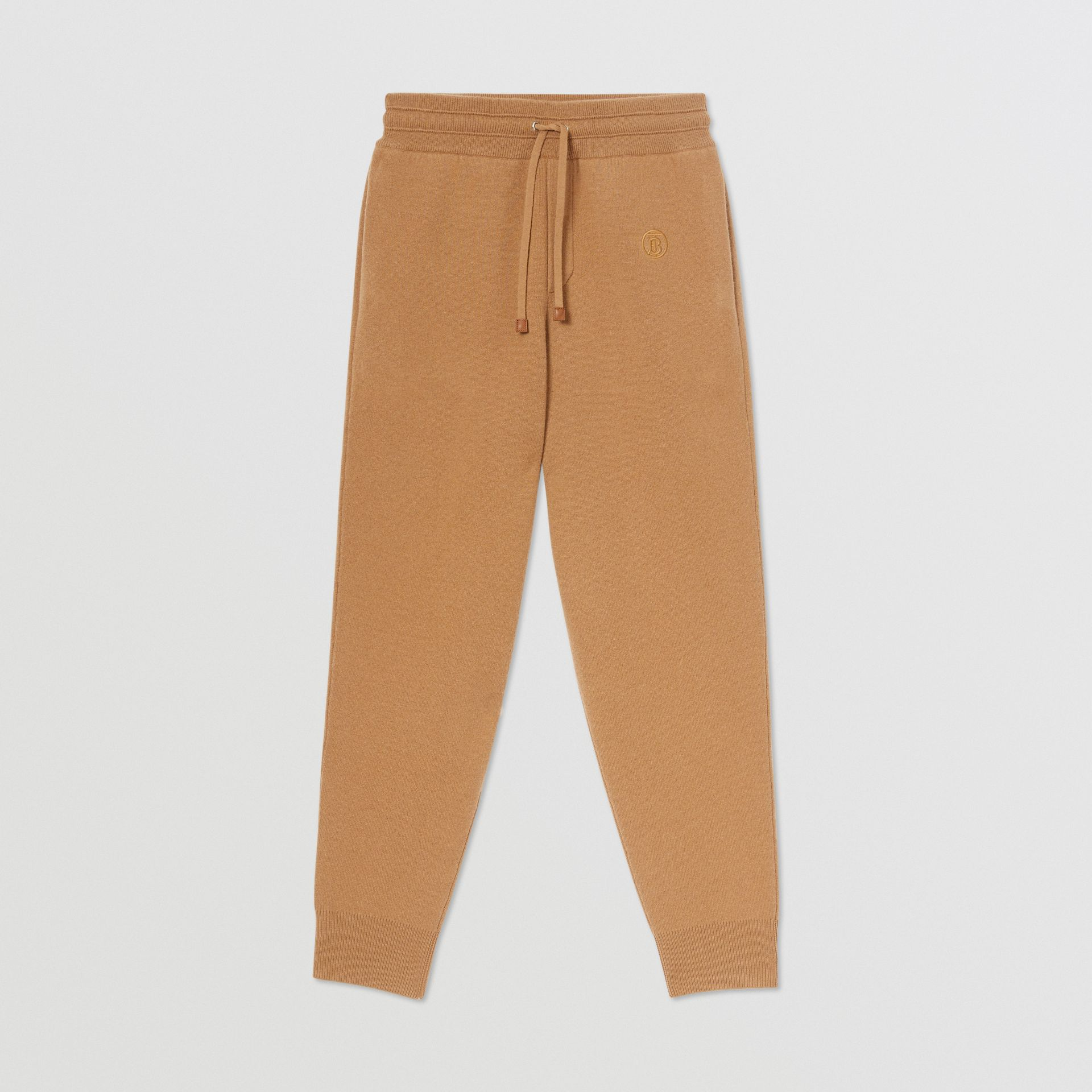 Monogram Motif Cashmere Blend Jogging Pants in Camel - Women | Burberry - gallery image 3