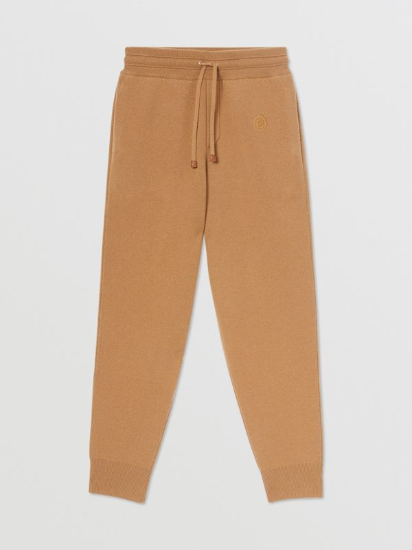 Monogram Motif Cashmere Blend Jogging Pants in Camel - Women | Burberry - cell image 3