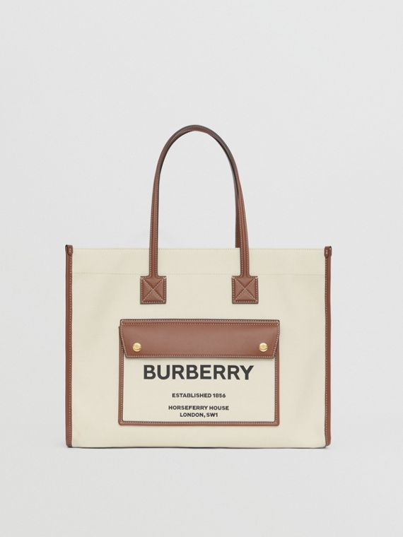 Medium Two-tone Canvas and Leather Freya Tote – Online Pre-launch in Natural/tan