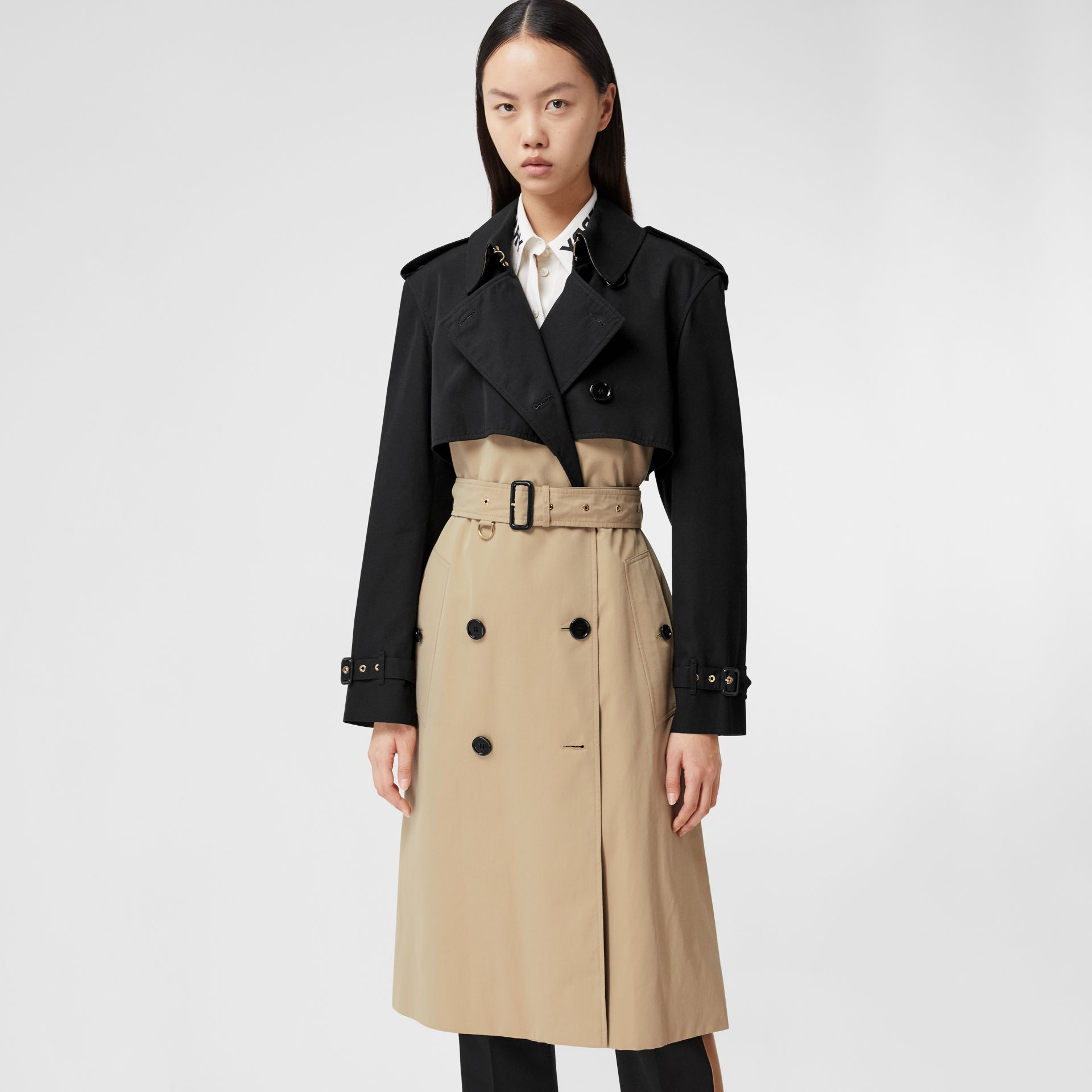 Two-tone Reconstructed Trench Coat in Black - Women | Burberry United Kingdom - gallery image 6