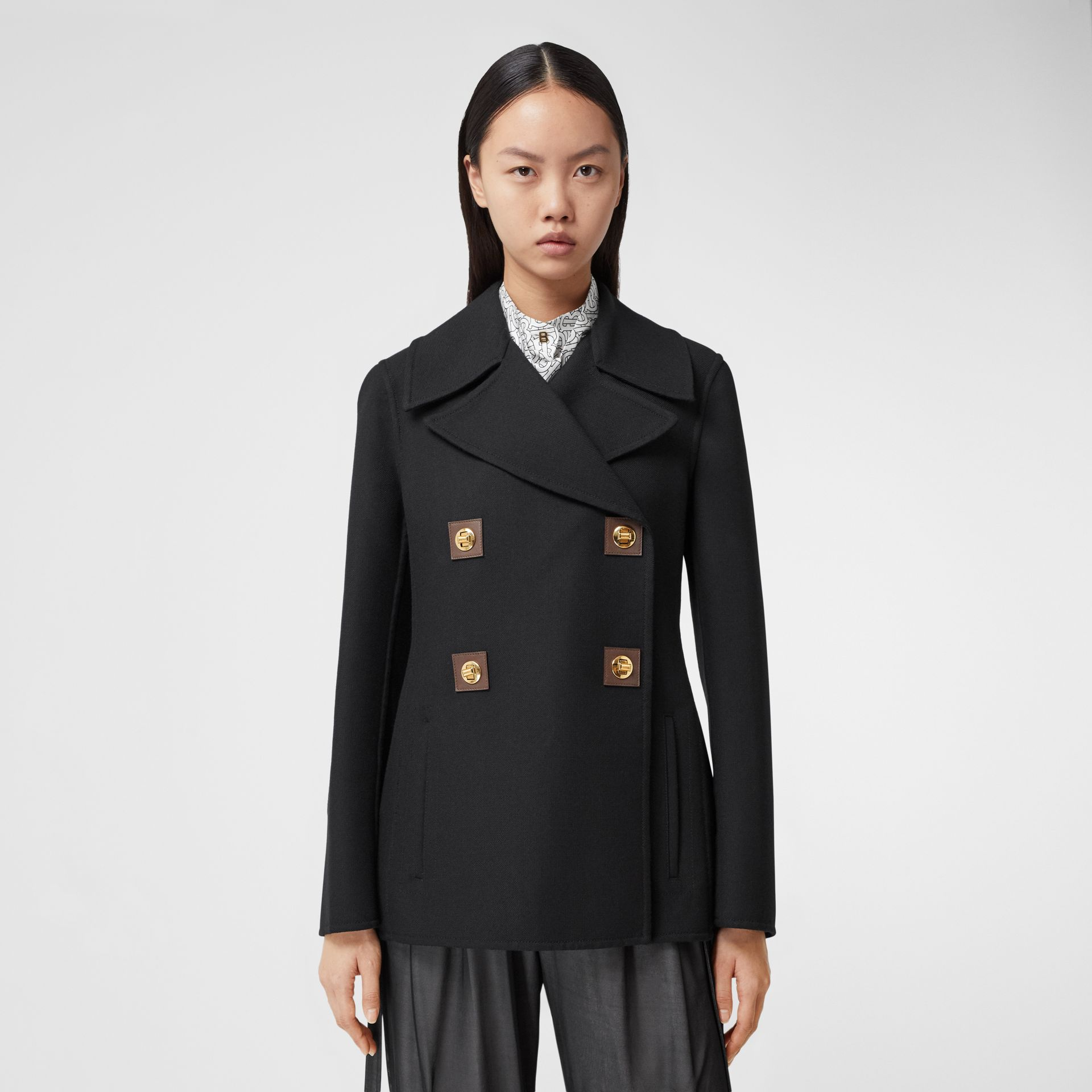 Double-faced Wool Pea Coat in Black - Women | Burberry - gallery image 6