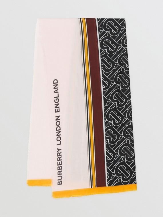 花押字印花條紋輕盈喀什米爾圍巾 (霜粉紅)