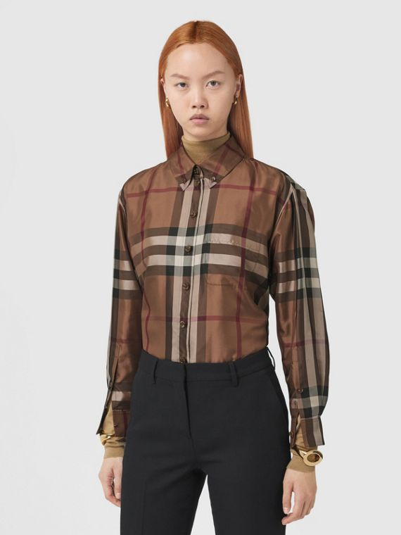 Check Silk Twill Shirt in Birch Brown