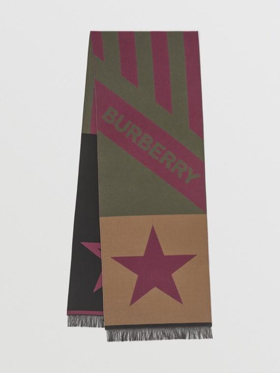Geometric and Logo Wool Silk Jacquard Scarf in Maroon