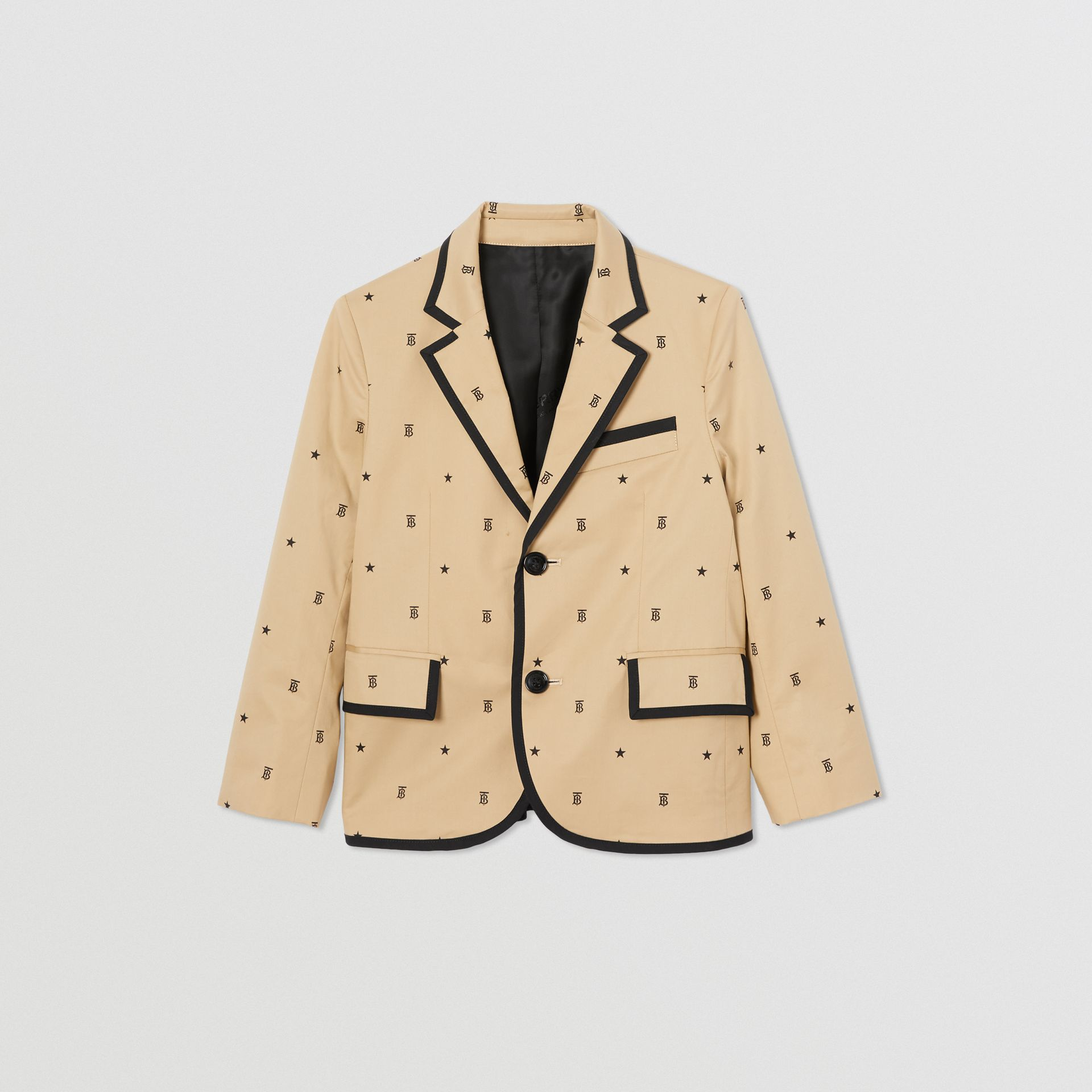 Star and Monogram Motif Stretch Cotton Blazer in Sand | Burberry - gallery image 0