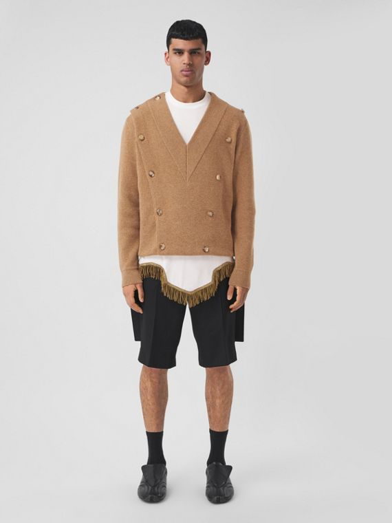 Technical Wool Double-breasted V-neck Sweater in Biscuit Beige