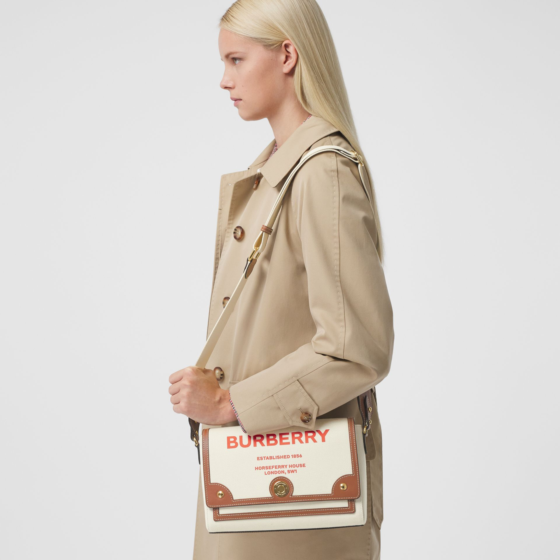Horseferry Print Canvas Note Crossbody Bag in Natural/tan - Women | Burberry - gallery image 8