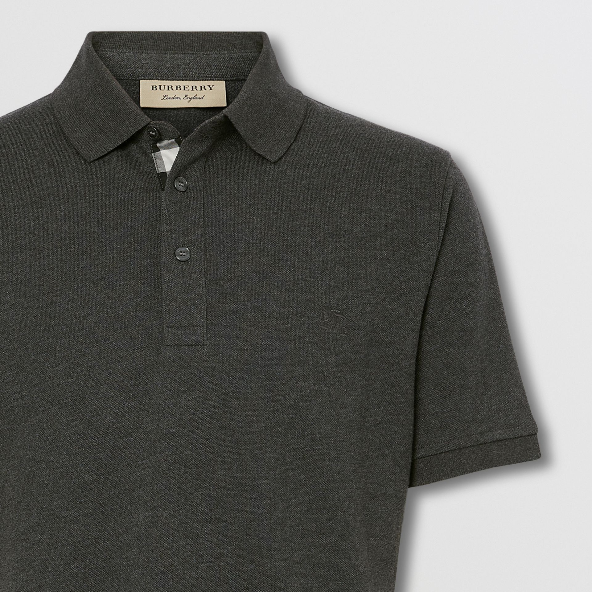 Check Placket Cotton Piqué Polo Shirt in Dark Charcoal Melange - Men | Burberry - gallery image 1
