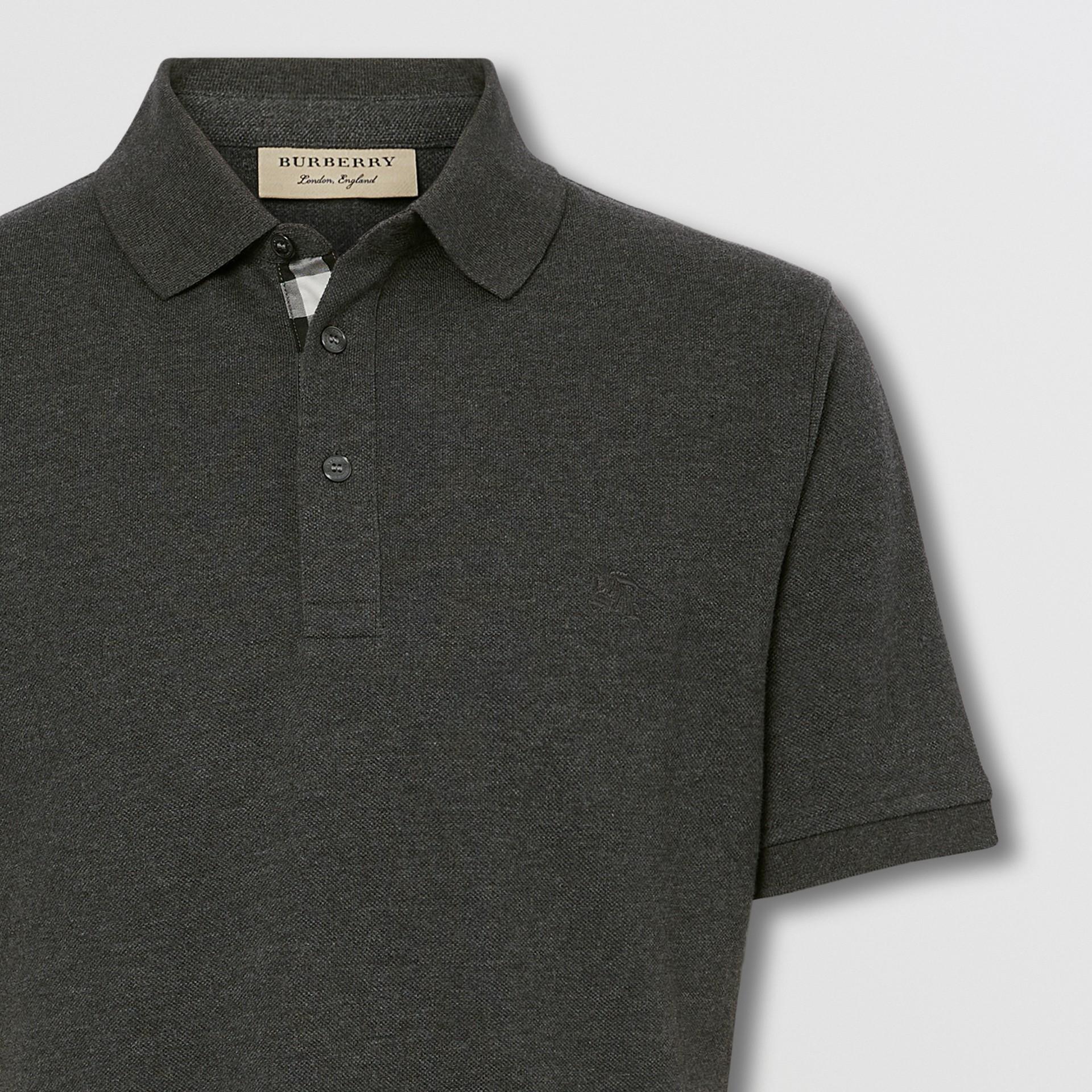 Check Placket Cotton Piqué Polo Shirt in Dark Charcoal Melange - Men | Burberry Canada - gallery image 1
