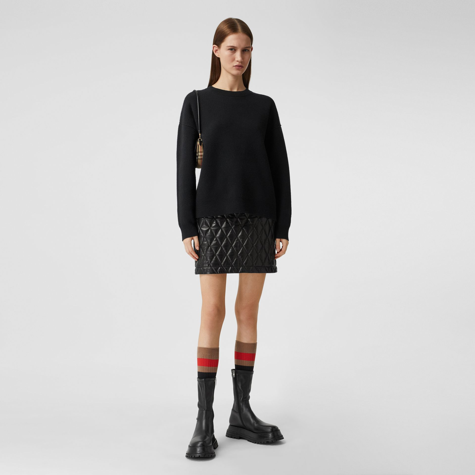 Monogram Motif Cashmere Blend Sweater in Black - Women | Burberry - gallery image 0