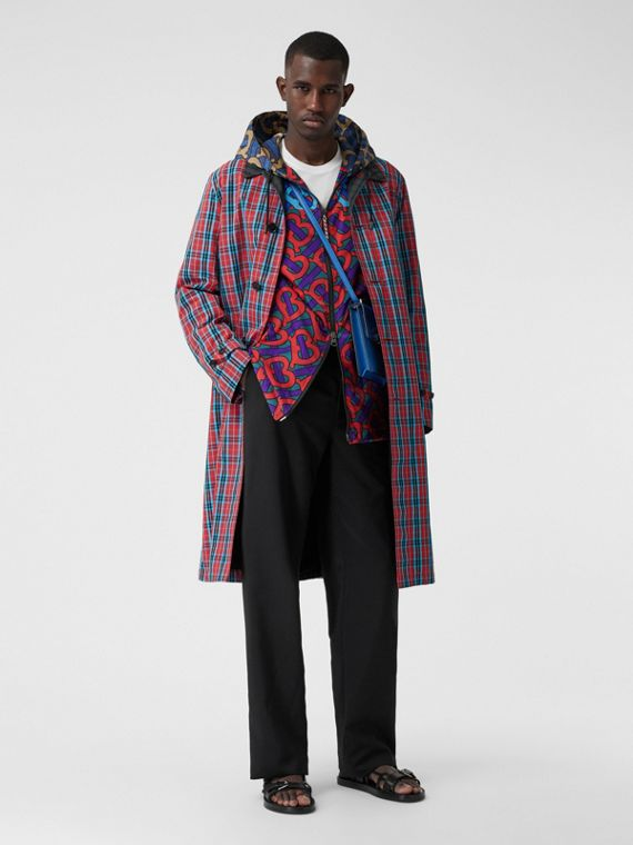 Contrast Collar Check Nylon Twill Car Coat in Red