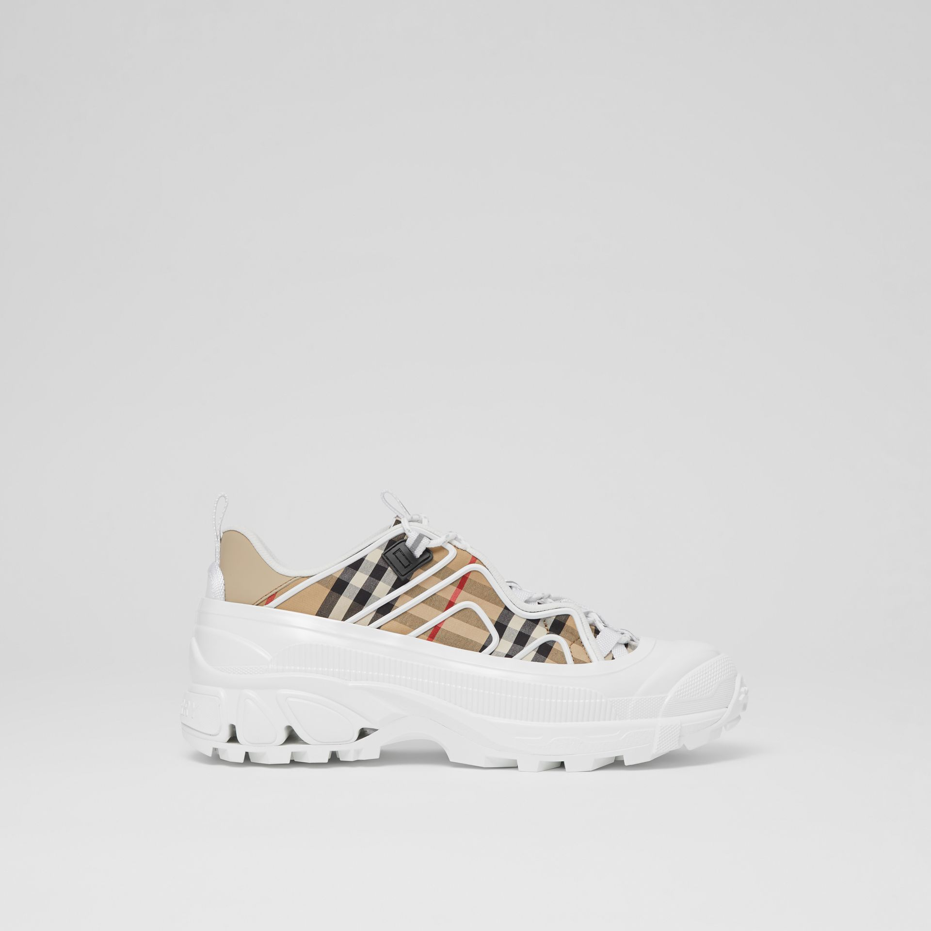 Vintage Check Cotton And Leather Arthur Sneakers in Archive Beige/white | Burberry - gallery image 5