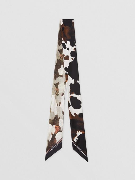 Skinny scarf de seda com estampa de camuflagem (Mocha Escuro)