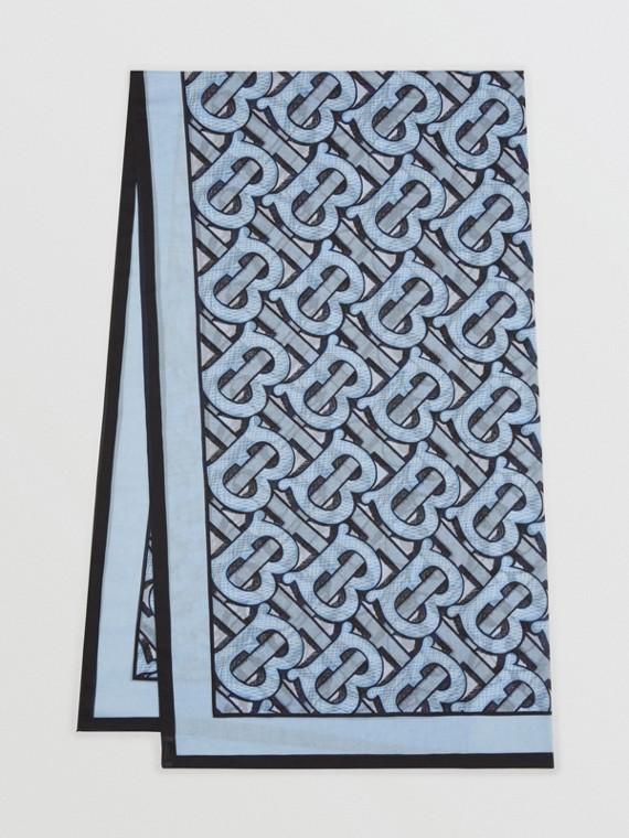 Sciarpa leggera in cotone con stampa monogramma (Azzurro Chiaro)