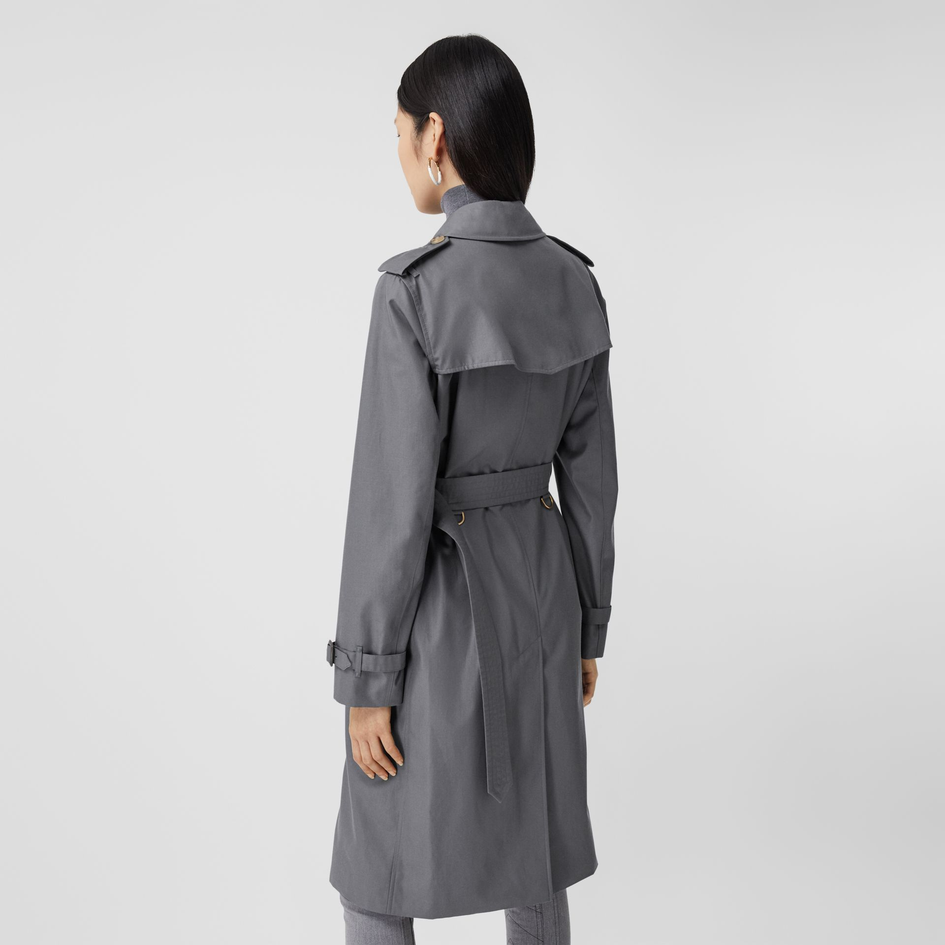 Cotton Gabardine Long Trench Coat in Mid Grey - Women | Burberry United Kingdom - gallery image 2