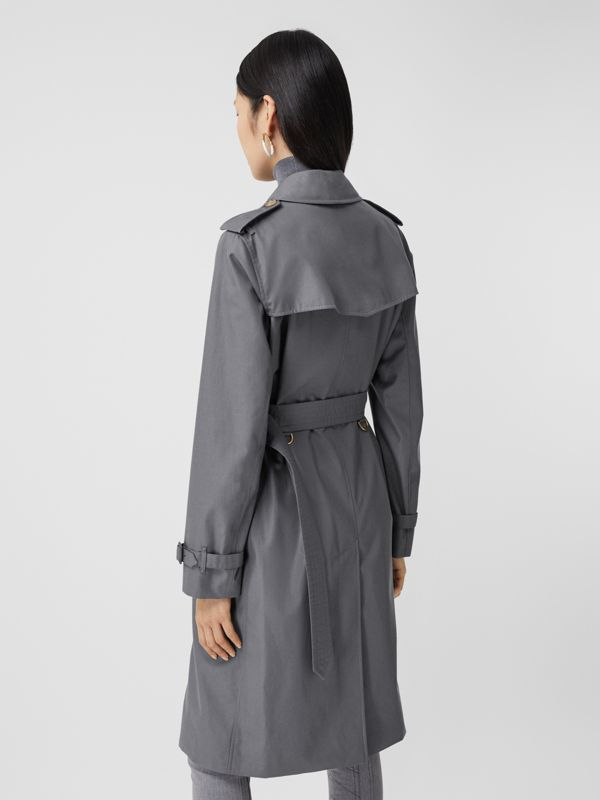 Cotton Gabardine Long Trench Coat in Mid Grey - Women | Burberry - cell image 2