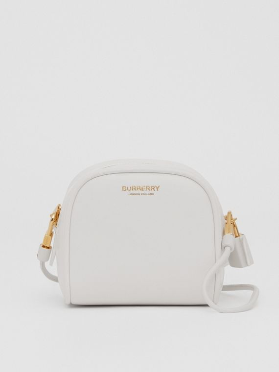 Micro Leather Cube Bag in Optic White