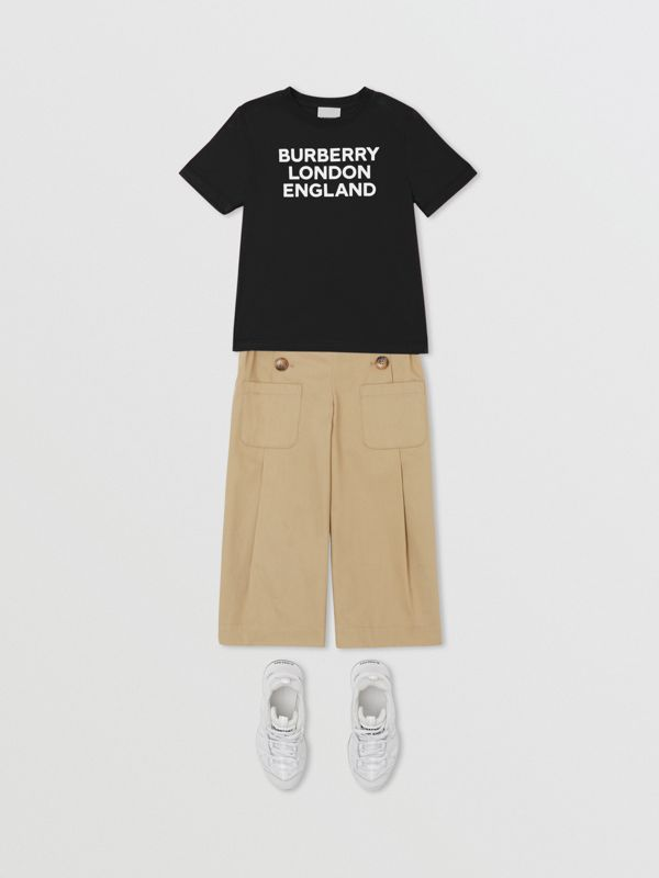 Logo Print Cotton T-shirt in Black | Burberry - cell image 2