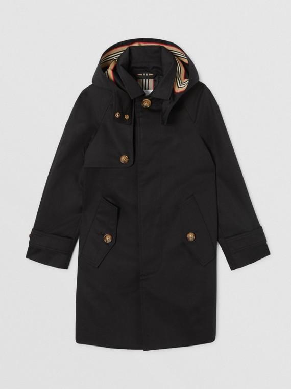 可拆式連帽標誌性條紋飾邊棉質中長大衣 (黑色)