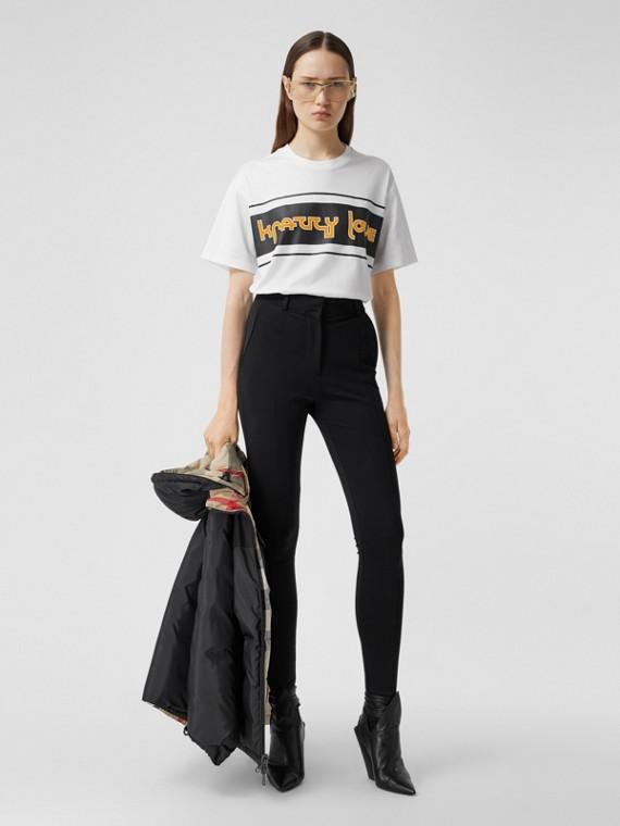 Slogan Print Cotton Oversized T-shirt in White