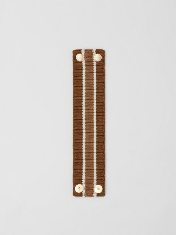 Rib Knit Technical Wool Collar in Brown