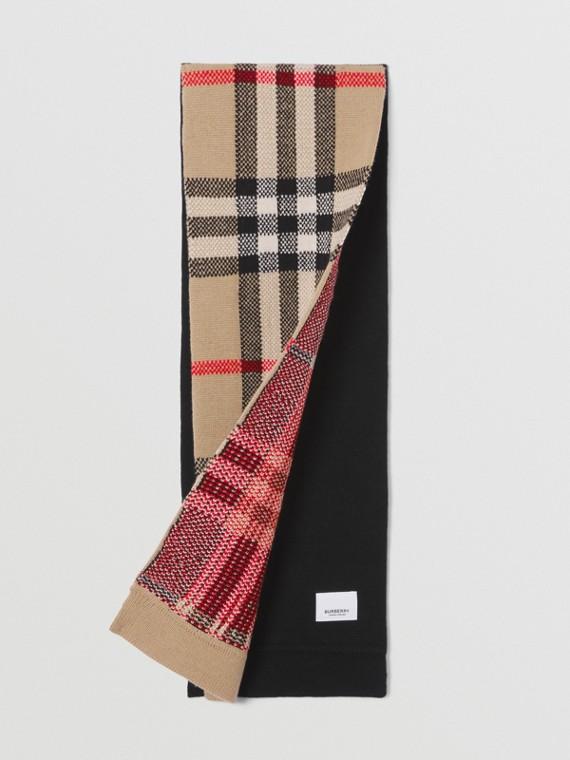 Cachecol de lã e cashmere em Vintage Check (Bege Clássico)