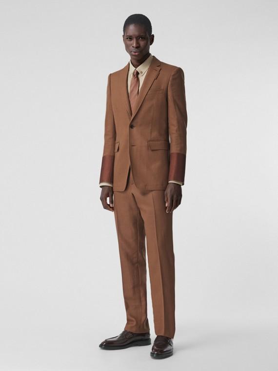 English Fit Wool Ramie Tailored Jacket in Dark Birch Brown