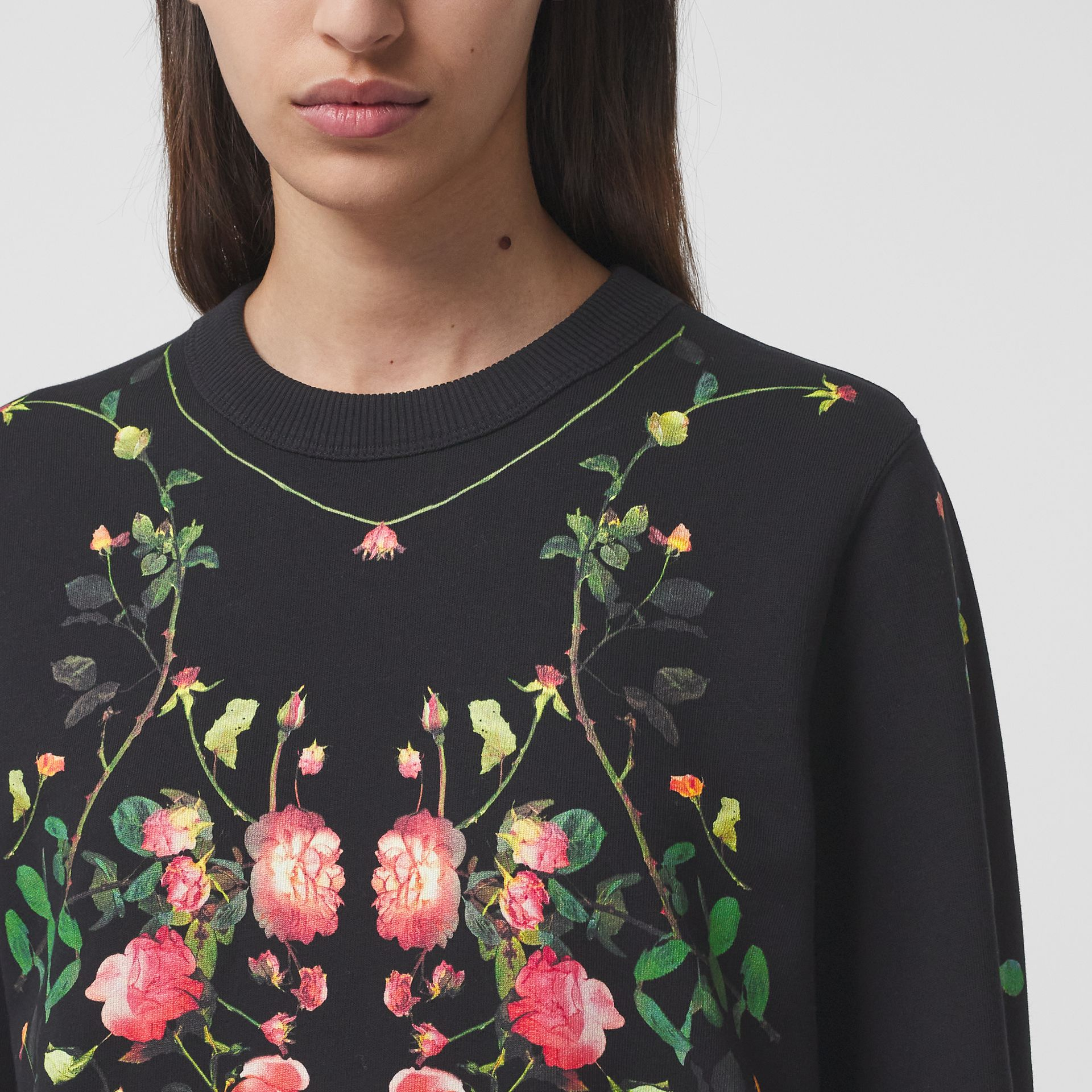 Rose Print Cotton Oversized Sweatshirt in Black - Women | Burberry - gallery image 1
