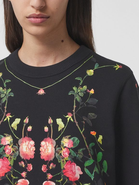 Rose Print Cotton Oversized Sweatshirt in Black - Women | Burberry - cell image 1