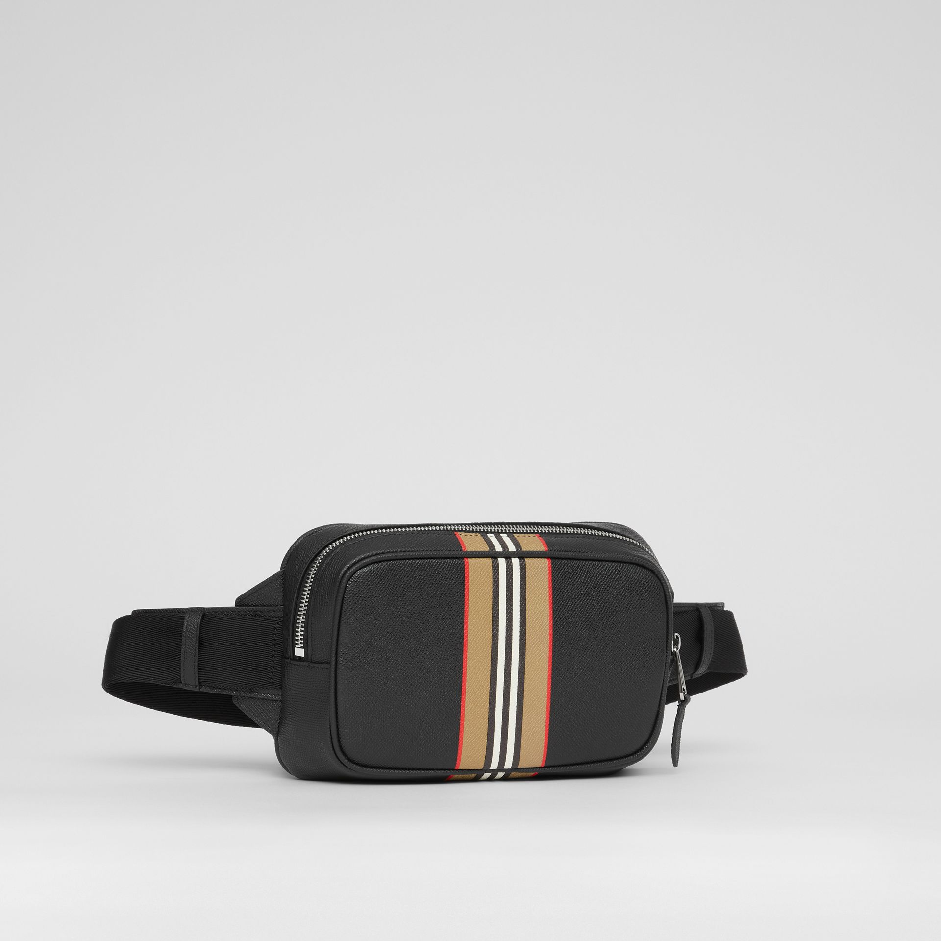 Icon Stripe Print Grainy Leather Bum Bag in Black - Men | Burberry - gallery image 8