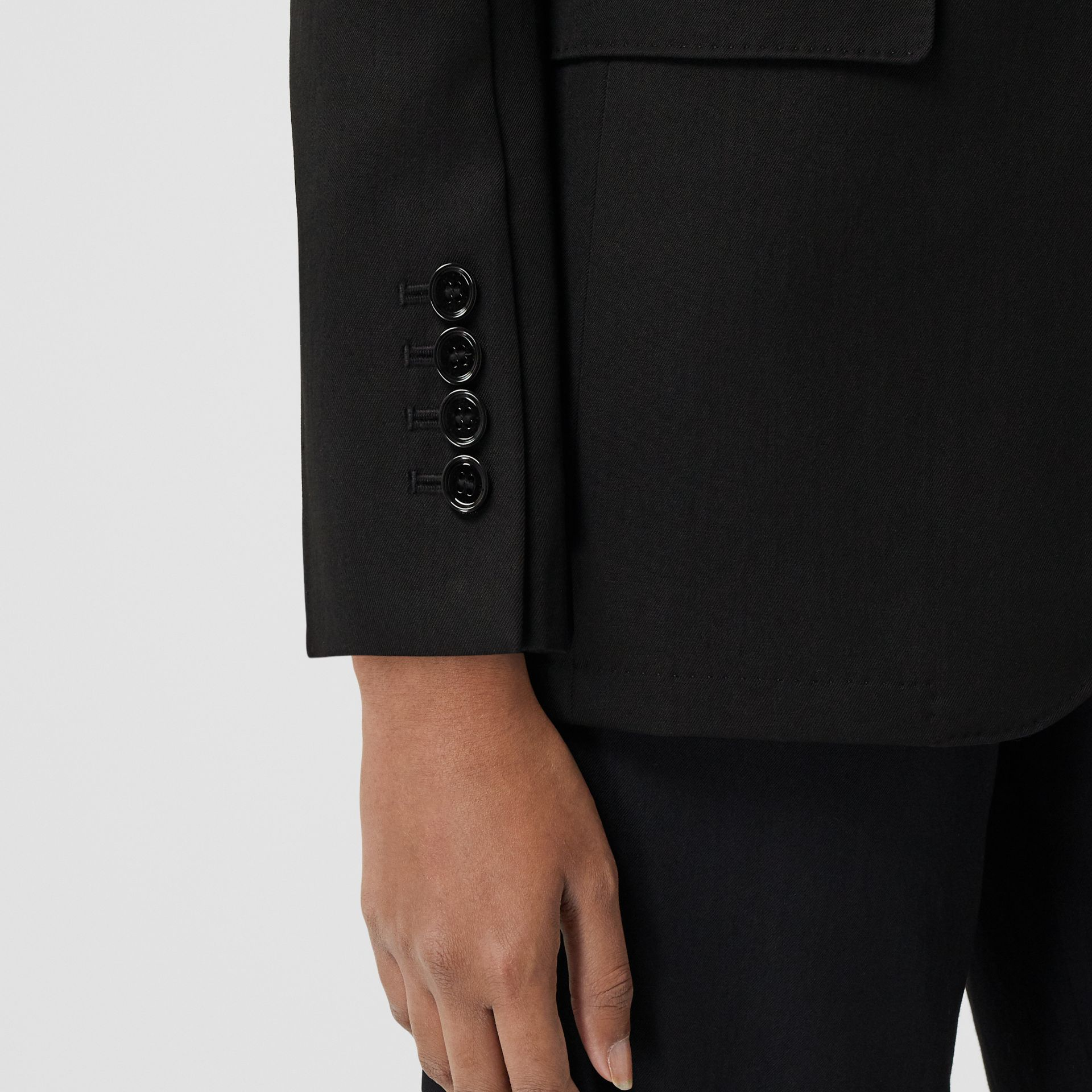 Technical Wool Gabardine Tailored Jacket in Black - Women | Burberry - gallery image 4