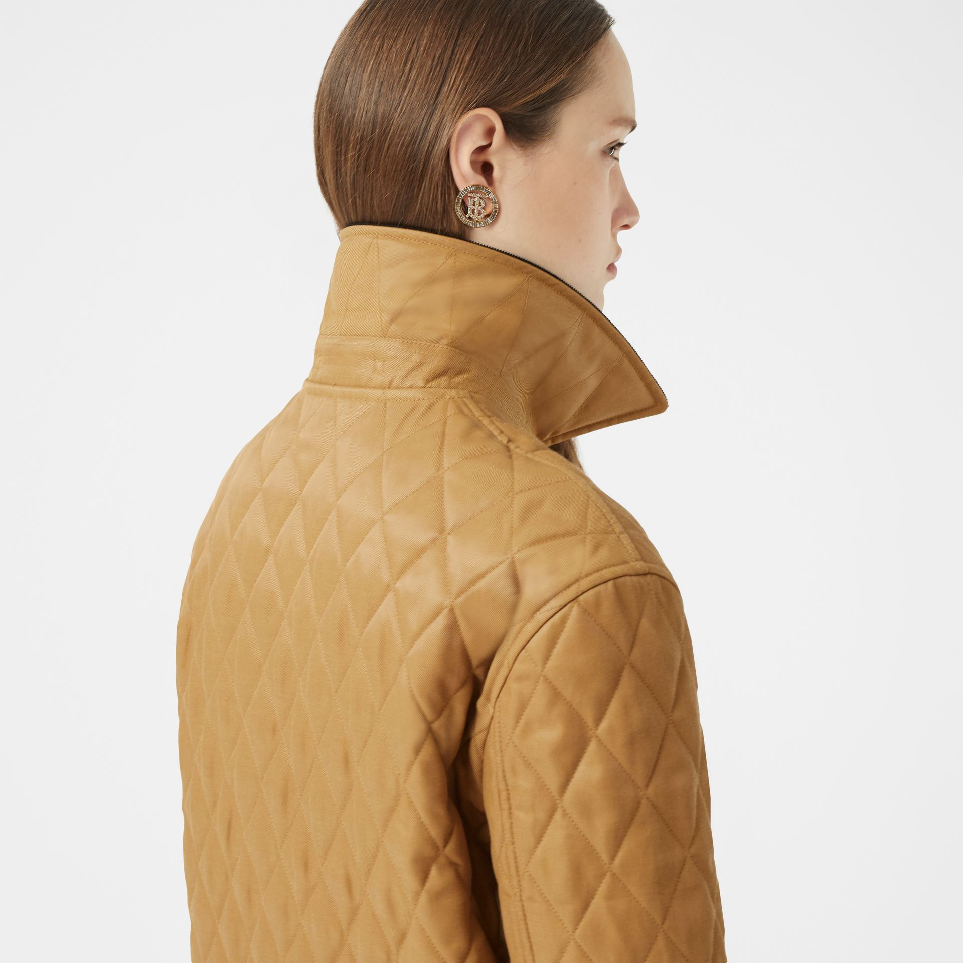 Corduroy Collar Diamond Quilted Jacket in Camel - Women | Burberry - gallery image 5
