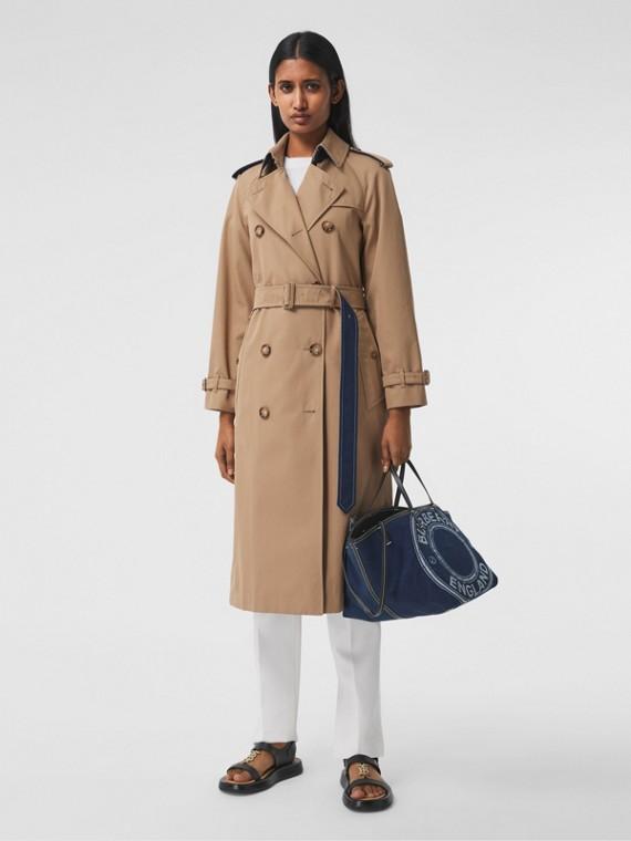 Trench coat in gabardine di cotone con dettagli in denim (Cammello)