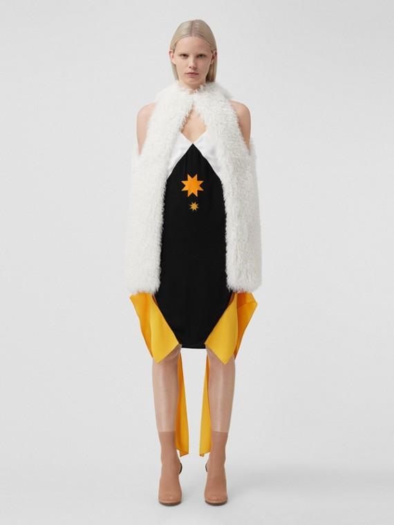 Panel Detail Geometric Print Satin Slip Dress in Black