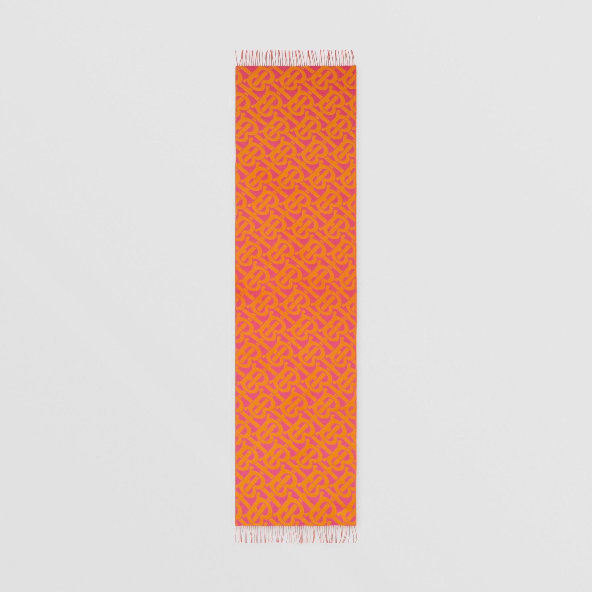 Bufanda en cachemir con motivo de monogramas en jacquard (Rosa Intenso) | Burberry - imagen de la galería 8