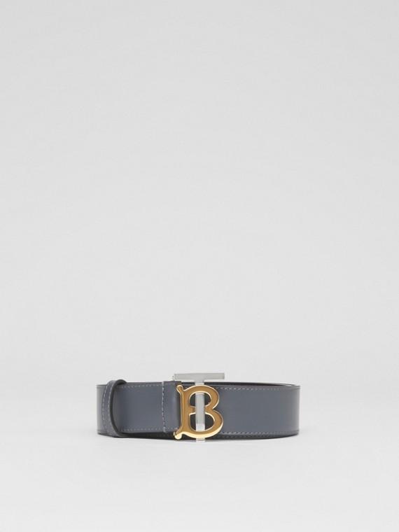 Monogram Motif Leather Belt in Tempest Grey