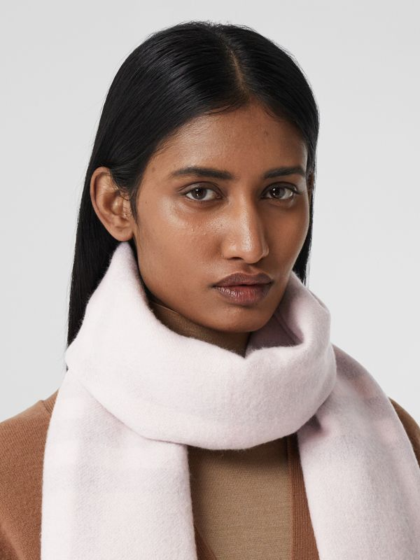 Reversible Check Cashmere Scarf in Frosted Pink | Burberry Canada - cell image 2