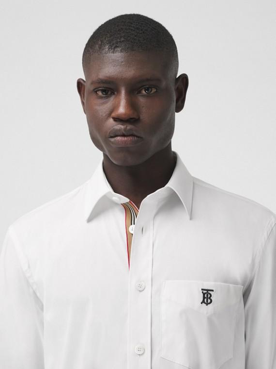 Hemd aus technischer Baumwolle mit Monogrammmotiv (Weiß)
