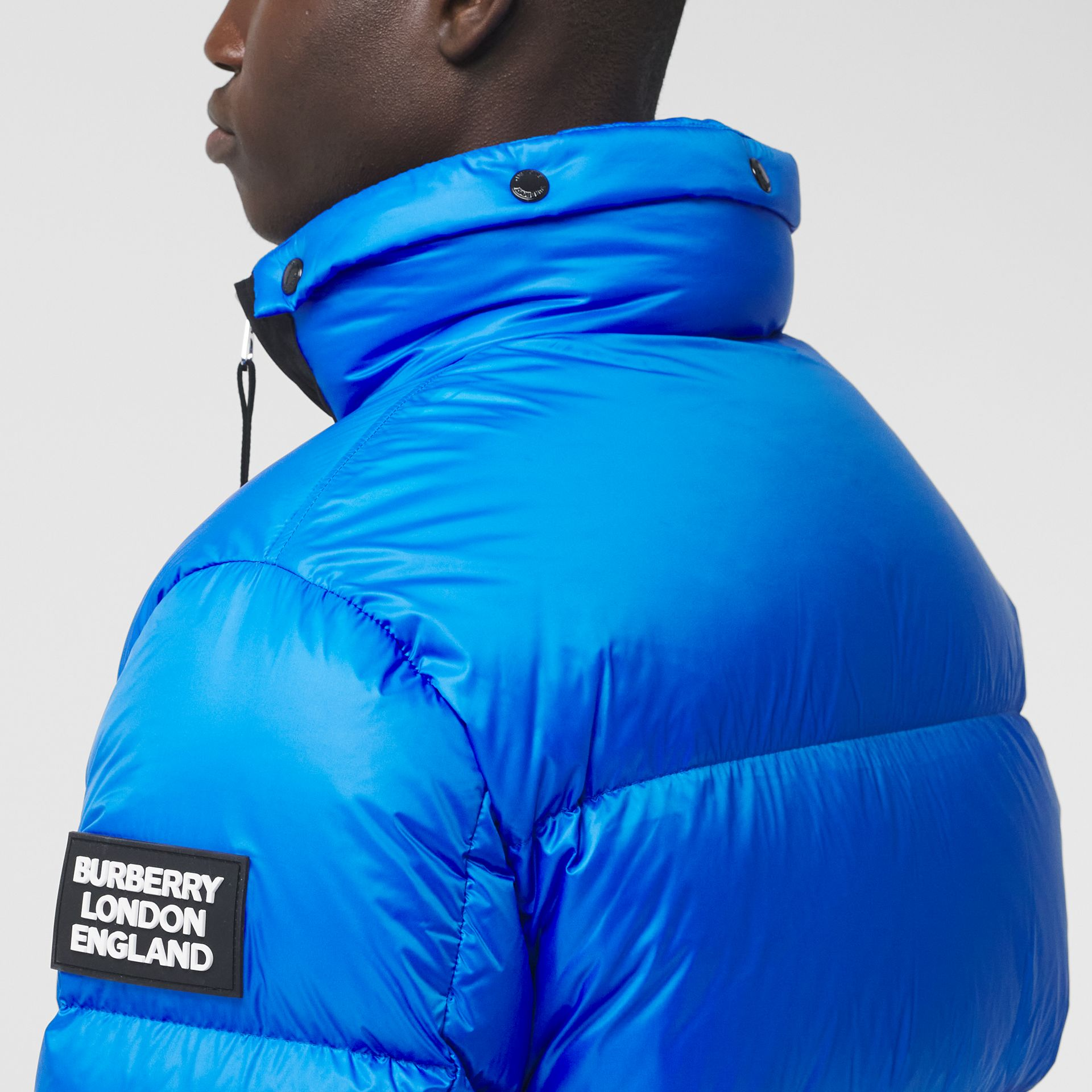 Packaway Hood Zip Detail Puffer Jacket in Canvas Blue - Men | Burberry - gallery image 3