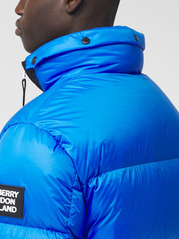 Packaway Hood Zip Detail Puffer Jacket in Canvas Blue - Men | Burberry - cell image 3